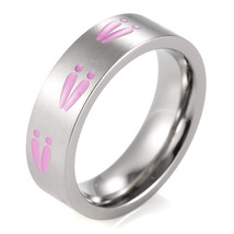 6mm Ladies Titanium Pink Deer Track Ring Outdoor Camo Ring - $24.98