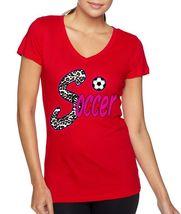 Soccer Women's V Tee Shirt Sport Line Shirt - $17.00