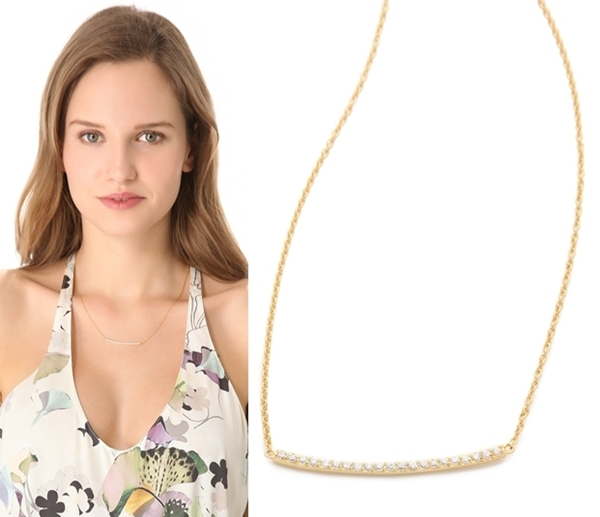 14k Yellow Gold Plated Celebrity Gorjana Taner Pave Bar Necklace In 925 Silver - £43.39 GBP