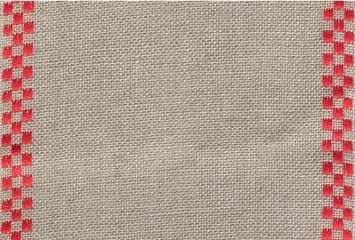 "Primary image for 27ct Checkers Natural/Red banding 4.7""w x 36"" (1yd) 100% linen Mill Hill"
