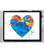 ? Blue Heart Watercolor Art Print Love art A3 - $32.00