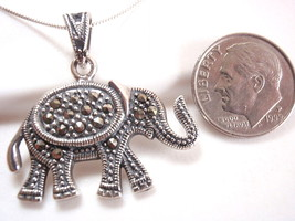Decorated Elephant Marcasite Necklace 925 Sterling Silver Corona Sun Jew... - $16.73