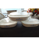 "3 Corning Ware A-10-B Blue Cornflower 10"" Baking Dishes with lids - $29.99"