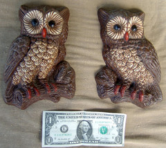 Pair of Resin Foam Wall Mount Decor Hanging Owls Birds  image 2
