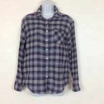 American Eagle Outfitters Womens Boyfriend Fit Cotton Shirt Size S Purple Plaid  - $15.88