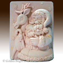 Snowflake Santa and Reindeer - 2D silicone Soap/polymer/clay/cold porcel... - $27.72