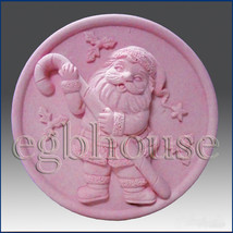 Santa and the Candy Cane - 2D silicone Soap/polymer/clay/cold porcelain ... - $25.74