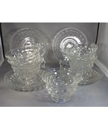 Fostoria Glass Lot 11 Pieces American Pattern - Clear 6 Saucers & 5 Cups... - $14.85