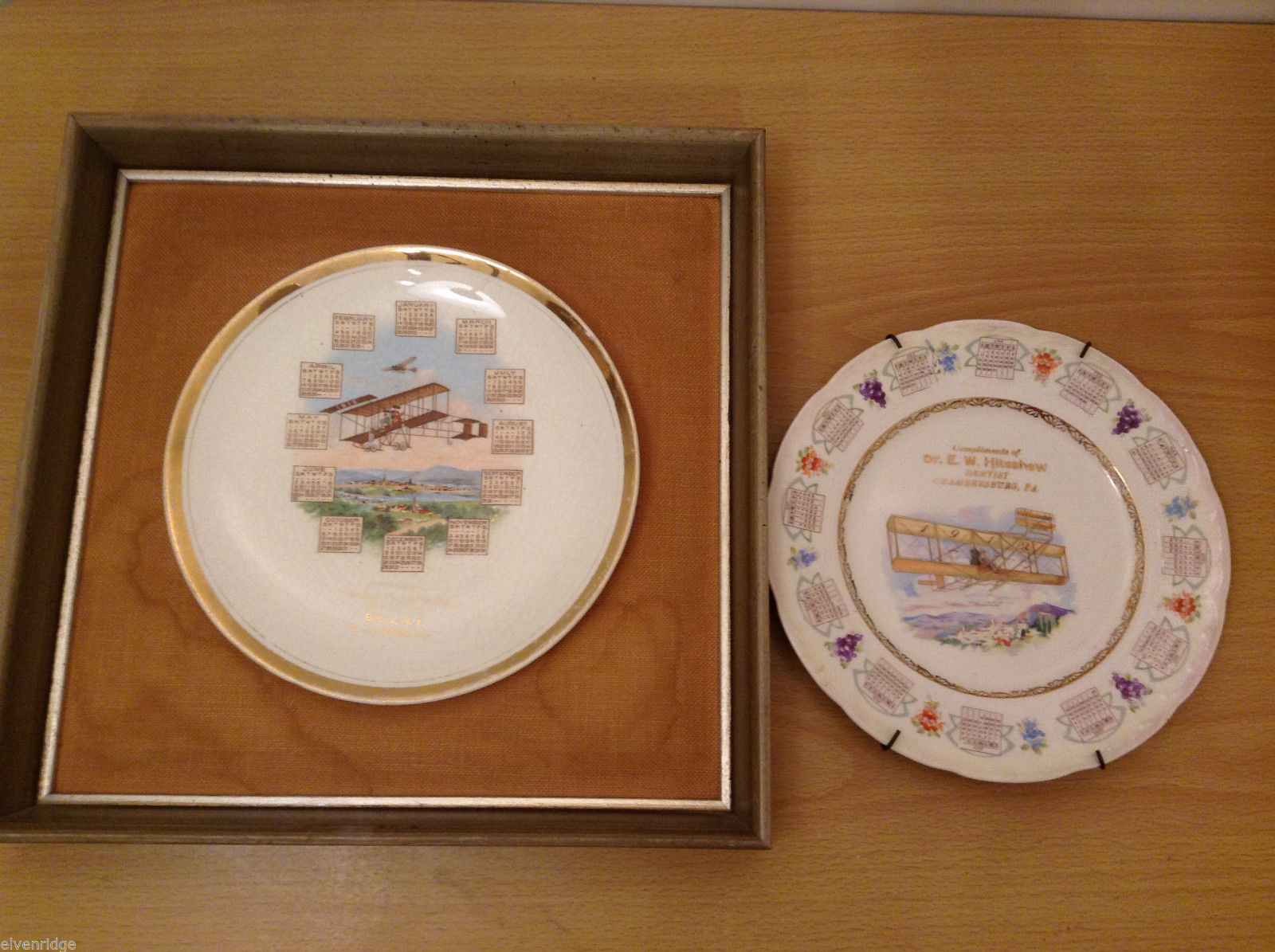 Antique 1912 Calendar Plates Pioneers of Aviation Theme Set of 2, China