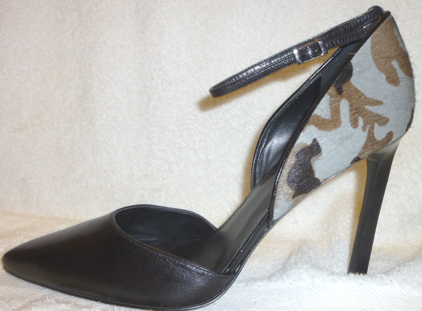 Nine West NEW Black and Camouflage Leather High Heels with Ankle Strap Size 11 B