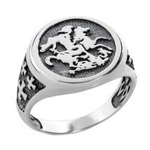 Sterling Silver Saint George and Dragon Men's Ring - £57.38 GBP
