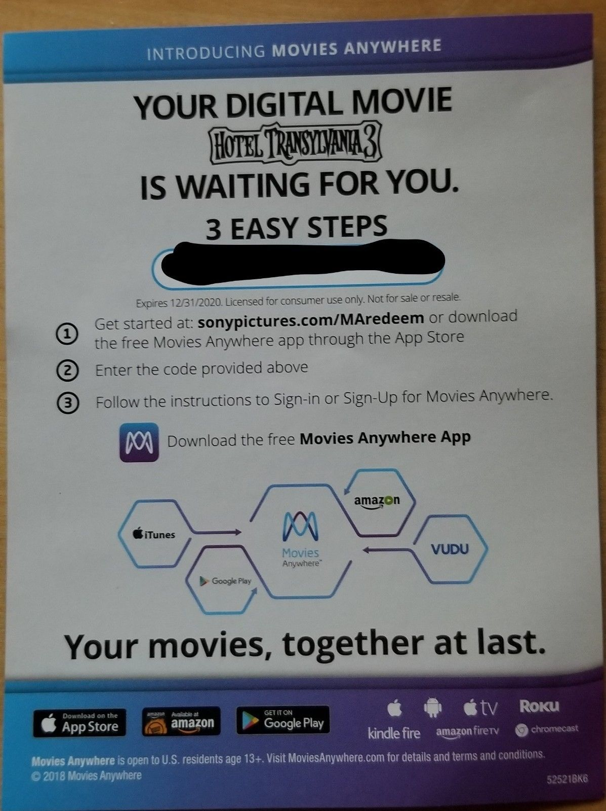 Hotel Transylvania 3 (2018)  Digital Code only NO DISCS