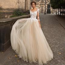 Women's New Sexy Illusive Lace Sweetheart Neckline Tulle A-Line Wedding Dress image 3