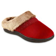Isotoner Womens Microsuede Fur Memory Foam Hoodback Mule Clog Slipper House Shoe - $32.00