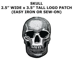 Iron On Embroidered Applique Patch SMALL Gray Black Human Skull Hallowee... - $5.91