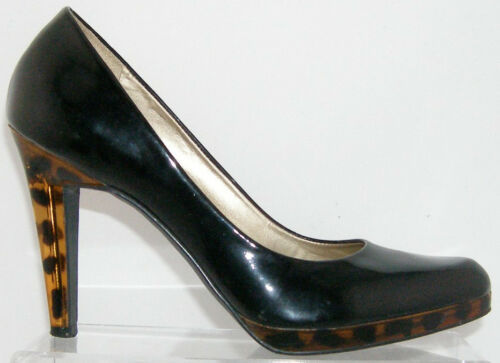 Jessica Simpson Lucite Gold-lined black patent leopard platform heel 8B 4827