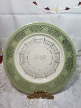 """VINTAGE 10"""" PORCELAIN COLLECTOR'S PLATE 1969 CALENDAR GREEN BAND W/ SILVER PRINT"""