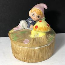 HOMCO ELF FIGURINE vintage porcelain pixie trinket jewelry box mushroom gnome - $19.75