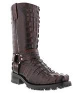 Mens Black Cherry Motorcycle Crocodile Boots Harness Cowboy Square Toe - €160,30 EUR
