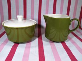 Groovy Mid Century Modern Avocado & White Pottery Cream and Sugar Bowl Set - $16.00