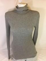 Express Women Gray Long Sleeve Shirt Size M Turtle Neck Bin50#17 - $14.03