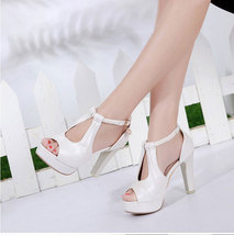 ps379 sweet fancy leather strappy ankle sandals, extra size, US Size 3-10, white - $42.80