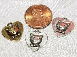 CAT FACE ON HEART FINE PEWTER PENDANT CHARM - 14mm L x 15mm W x 3mm D image 2