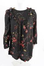 Zara Girls Dress Sz 13-14 164 cm Black Floral Long Sleeve Ruffle 6384/72... - $28.71