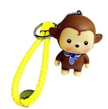 PANDA SUPERSTORE 2 Pieces Monkey Cartoon Car Key Ring Creative Weave Key Pendant