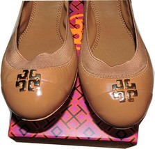 Tory Burch Jolie Ballerina Flats Tan Logo Minnie Reva Leather Ballet Shoe 7 - $139.00