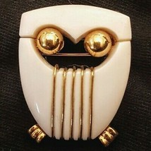 Crown Trifari Owl Pin Mid Century Modern MCM Art Deco White Lucite Gold ... - $47.52