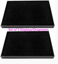 Set of 2 Black VELVET JEWELRY Organizers RING Display TRAY Stand 7 Row 9... - $25.24