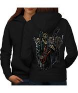 Guitar Metal Badass Skull Sweatshirt Hoody Skull Show Women Hoodie Back - $21.99+