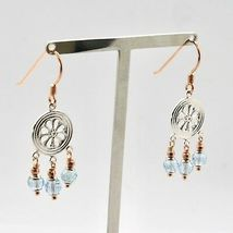 EARRINGS SILVER 925 LAMINATED GOLD PINK WITH AQUAMARINE FACETED image 3