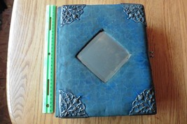 Antique Photo Album Velvet Victorian blue mirror vintage photo and cabin... - $74.25