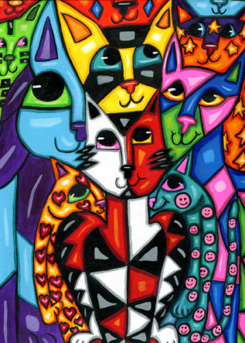 kitty cat art painting original abstract animal family pets hearts stars smileys