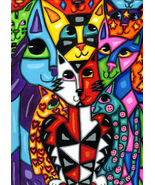 kitty cat art painting original abstract animal family pets hearts stars... - $29.99