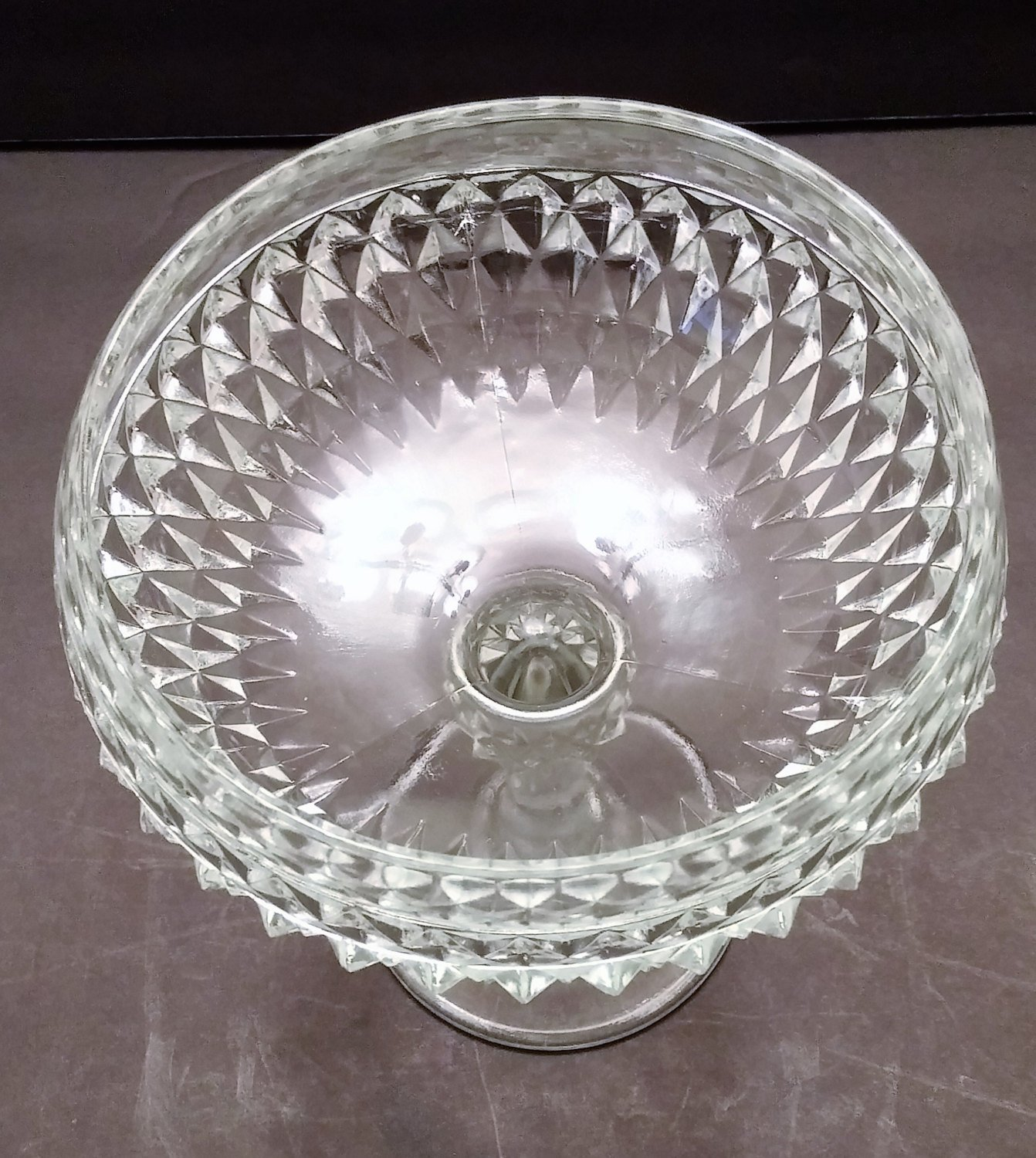 Indiana Glass Diamond Point Footed Compote Dish/Bowl
