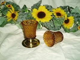 Home Interiors Diamond Amber Votive Cups Homco - $8.00