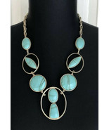 Chico's Blue & Green Reversible Adjustable Length Bib Necklace - $19.79