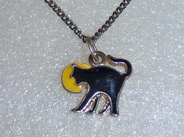 Small Enamel Black Cat Yellow Moon Necklace. - $13.00