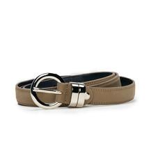 Modern elegant full grain belt on brown vegan leather round buckle singl... - $65.00