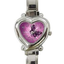 Ladies Heart Italian Charm Bracelet Watch Purple Butterfly Gift Model 38... - $11.99