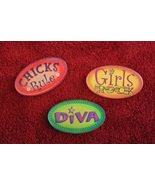 Teenage Girl Locker Magnets - Set of 3 - Chicks Rule, Girls Rock, Diva - $9.99