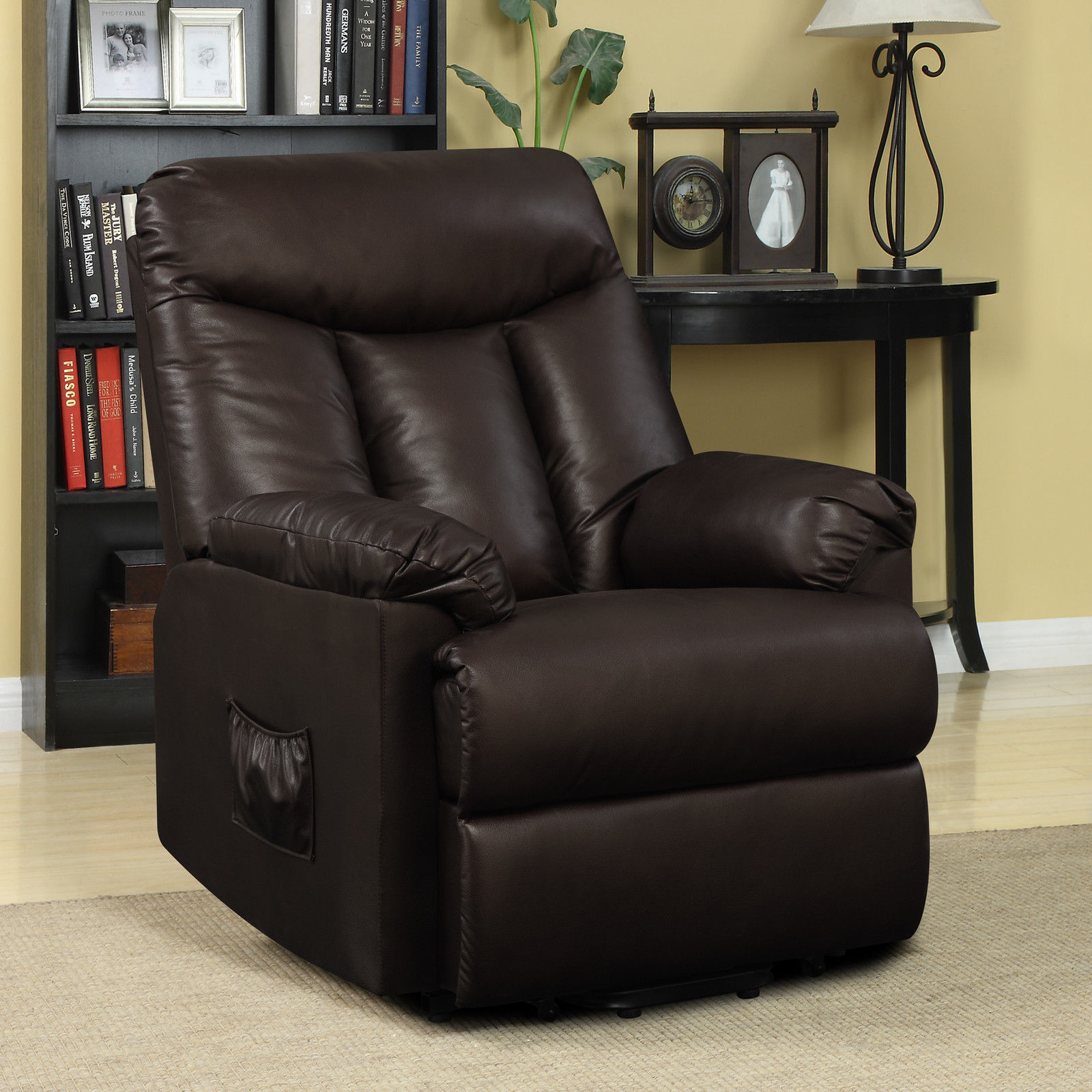 electric lift chair recliner brown leather power motion lounge seat