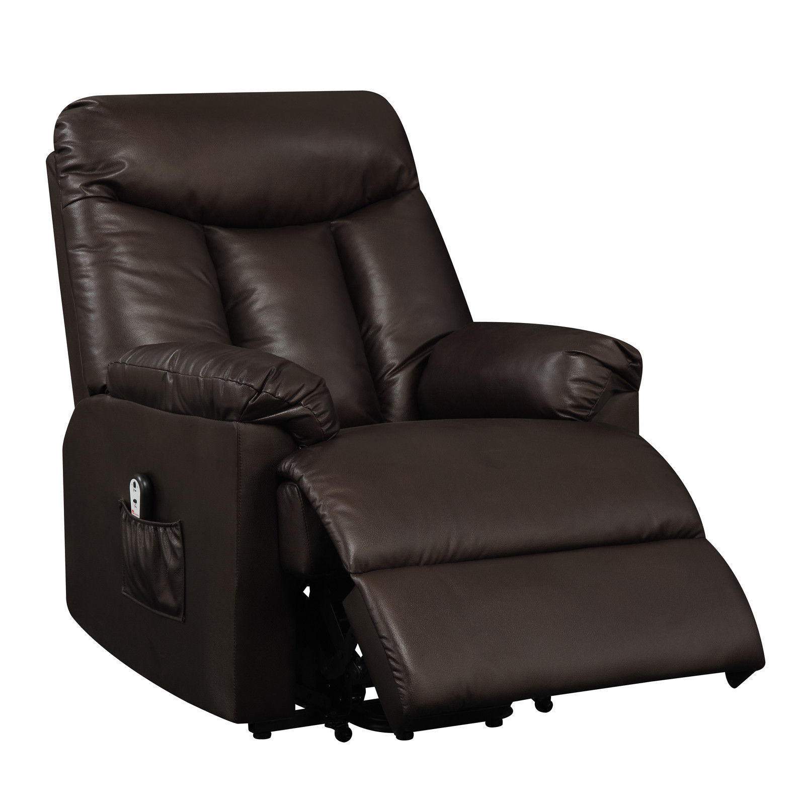 Electric lift chair recliner brown leather power motion for Recliner lift chair