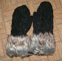 Extra Thick Knit Mittens with Faux Fur Cuff Free Shipping - $17.00
