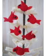 Red Bird Cardinal Felt Christmas Ornaments x6 - Handmade - $24.98