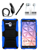 Alcatel One Touch Fierce XL Blue Heavy Duty Armor Hybrid Dual Layer Case Cover - $11.99