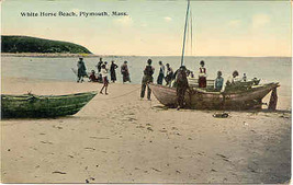 White Horse Beach Plymouth Massachusetts 1914 Post Card  - $6.00